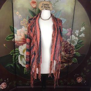 NEW Rue21 Fringed Stripe Boho Chunky Knit Cardigan